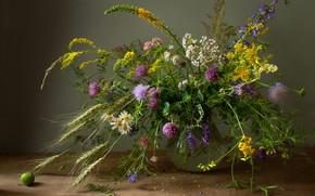 Picture flowers, bouquet, field, different, vase