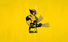 Picture Minimalism, Wolverine, Wolverine, Minimal, Yellow background