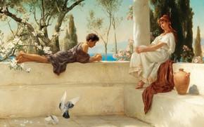 Picture 1892, On the terrace, German painter, German painter, oil on canvas, Albert Tschautsch, At the …