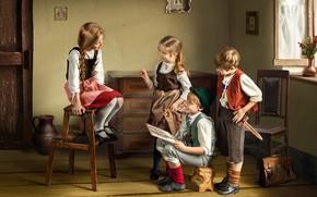 Picture children, room, model, girls, portrait, boy, drawing, Dmitry Usanin, Dmitry Yanin