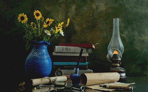 Picture flowers, watch, books, lamp, still life, scroll, ink