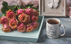 Picture roses, bouquet, Cup, tray