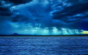 Picture sea, clouds, twilight
