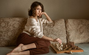 Picture look, girl, pose, mood, chess, Albert Forest, Виктория Макаренко
