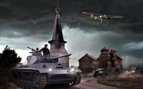 Picture Church, tank, the plane, German, Average, Tankers, Fieseler, Pz.III, Fi.156, Volkswagen Type 82, Storm clouds