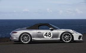 Picture 911, Porsche, side, Speedster, 991, the soft top, 2019, gray-silver, 991.2