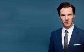 Picture Benedict Cumberbatch, Benedict Cumberbatch, blue background, British actor