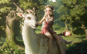 Picture deer, girl, horns, fairy forest, top, a magical artifact, elf girl, a wreath of roses, …
