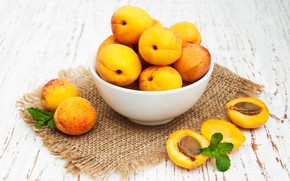 Picture table, bowl, fruit, apricots, ripe, Olena Rudo