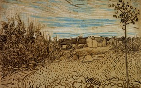 Picture Vincent van Gogh, Working in the Foreground, Cottages with a Woman