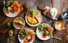 Picture mushrooms, egg, coffee, bread, banana, tomatoes, sauce, salad, avocado