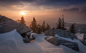 Picture winter, snow, trees, landscape, mountains, nature, fog, stones, dawn, morning, ate, national Park, Ural, Zyuratkul, …