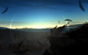 Picture girl, sunset, angel, Goro