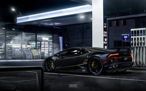 Picture Auto, Black, Night, Lamborghini, Machine, Dressing, Auto, Black, Machine, Matt, Gas stations, Huracan, Lamborghini Huracan, …