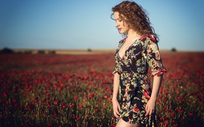 Picture girl, flowers, nature, Alba