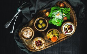 Picture greens, the dark background, food, knife, fabric, plug, tomatoes, olives, a lot, sauce, tray, salad, …
