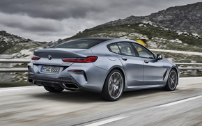 Picture asphalt, clouds, coupe, BMW, Gran Coupe, 8-Series, 2019, the four-door coupe, Eight, G16, steel gray