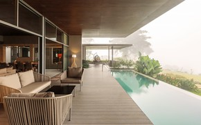 Picture interior, pool, terrace, living room, dining room, Home on the Hill, by Arun Nalapat Architects