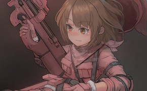 Picture weapons, soldiers, girl, Sword Art Online, Sword Art Online Alternative: Gun Gale Online