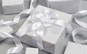 Picture winter, holiday, box, gift, Christmas, tape, gifts, New year, white, bow, light background, box, braid, …