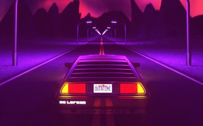 Picture Auto, Music, Machine, Style, Background, Back to the future, DeLorean DMC-12, Art, 80s, Style, DeLorean, …