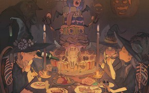 Picture pumpkin, cake, Halloween, halloween, meeting, in the dark, witch hat, witch, at the table, the …
