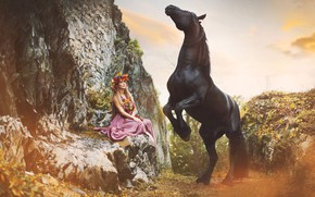 Picture girl, rocks, horse, woman, horse, dress, crow, reared
