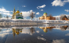 Picture water, snow, landscape, the city, reflection, spring, temple, The Kremlin, Tula, Ilya Garbuzov