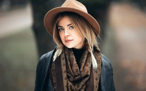 Picture look, model, portrait, hat, makeup, jacket, hairstyle, blonde, shawl, pigtail, bokeh, Olesya, Ivan Proskurin