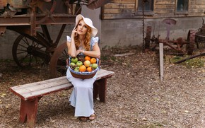 Picture look, girl, bench, hat, dress, fruit, basket, redhead