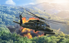 Picture Black Hawk, American multi-purpose helicopter, UH-60A, Sikorsky, US army, Black hawk