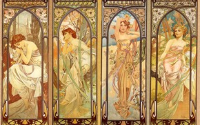 Picture mural, composition, floral ornament, nymphs, female images, Alphonse Mucha, Alfons Maria Mucha, 4 girls, illustration ...