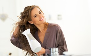 Picture girl, pose, hair, white background, brown hair, Bathrobe, bokeh, Hairdryer, dry