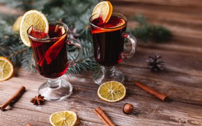 Picture new year, orange, drink, cinnamon, decor, Anis, Mulled wine, Svetlana Kolpakova