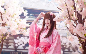 Picture look, girl, light, trees, branches, nature, face, style, portrait, spring, garden, Sakura, fan, pink, pagoda, …