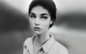 Picture Girl, Look, Lips, Face, Girl, Eyes, Portrait, Art, Portrait, Black and white, Black & White, …