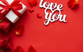 Picture gift, Love, petals, red, rose, Valentine's Day, petals, gift-box