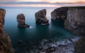 Picture sea, the sky, clouds, landscape, nature, stones, rocks, shore, coast, view, height, the bottom, dal, …