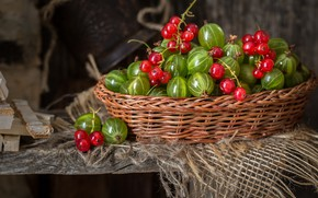 Picture berries, still life, basket, currants, gooseberry