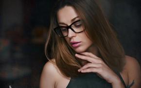 Picture face, pose, model, hand, portrait, makeup, glasses, hairstyle, brown hair, bokeh, Roman Prošek