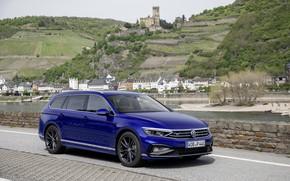Picture blue, hills, Volkswagen, universal, Passat, R-Line, Variant, 2019