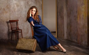 Picture look, pose, room, wall, model, chairs, portrait, makeup, figure, dress, mirror, hairstyle, shoes, suitcase, brown …