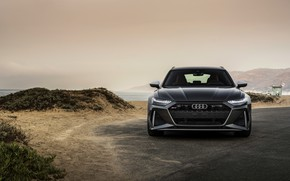 Picture Audi, front, universal, RS 6, 2020, 2019, dark gray, V8 Twin-Turbo, RS6 Avant
