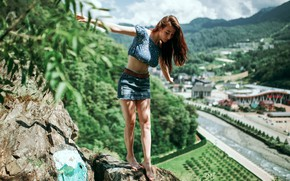 Picture the sun, landscape, pose, rock, stones, model, skirt, makeup, figure, hairstyle, brown hair, topic, legs, …