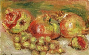 Picture picture, still life, Pierre Auguste Renoir, Pierre Auguste Renoir, Pomegranates and Grapes