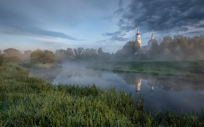 Picture trees, landscape, nature, fog, spring, morning, Church, grass, the bushes, Bank, river, Andrei, Serna