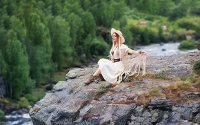 Picture look, girl, nature, river, rocks, model, height, hat, dress, blonde, Anastasia Barmina