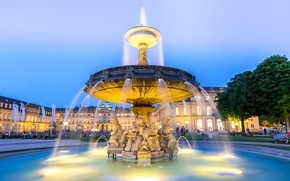 Picture the sky, trees, lights, people, home, the evening, Germany, area, fountain, Stuttgart city center