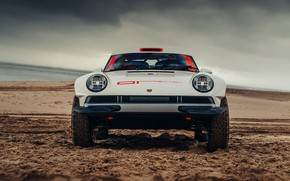 Picture sand, beach, protection, 911, Porsche, front view, 964, AWD, Singer, twin turbo, 2020, 2021, Singer …