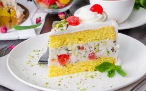 Picture berries, cake, cream, Sicilian cassata